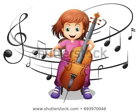 Menina jogar violoncelo notas musicais ilustração música Foto stock © colematt