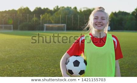 belle · footballeur · adolescente · balle · heureux · sourire - photo stock © dolgachov