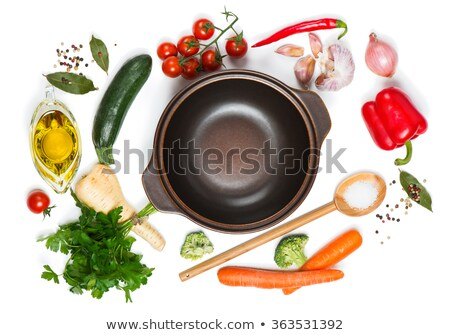 different spices and herbs isolated on white background top view stock photo © xamtiw