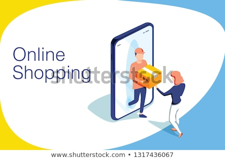 Isometric flat vector landing page template for online food ordering. Stock photo © TarikVision