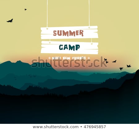 Zomervakantie reizen zomerkamp poster bos student Stockfoto © ikopylov
