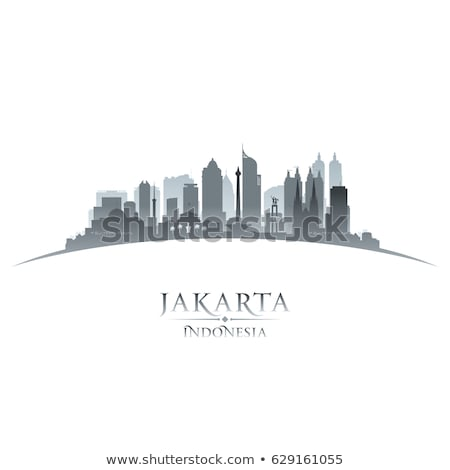 Jakarta city silhouette on sunset background Stock photo © Ray_of_Light