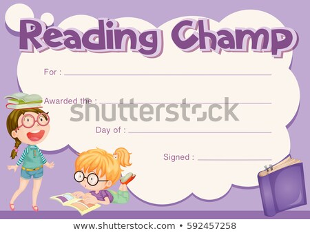 Certificate template for reading champ with purple background Stock photo © colematt