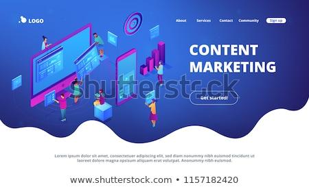 Videó tartalom marketing leszállás oldal laptop Stock fotó © RAStudio