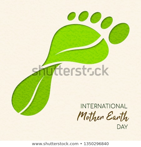 Jour de la terre feuille verte empreinte carbone internationaux illustration feuilles vertes Photo stock © cienpies