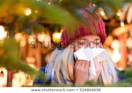 Enfermo mujer sonarse la nariz Navidad salud Foto stock © dolgachov