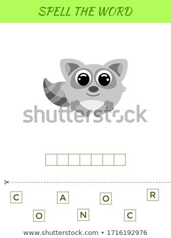 Spelling spel sjabloon wasbeer illustratie school Stockfoto © colematt