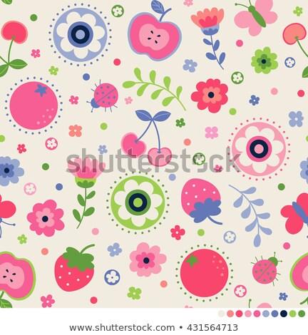 Modèle fraises papillon vecteur web Photo stock © Margolana