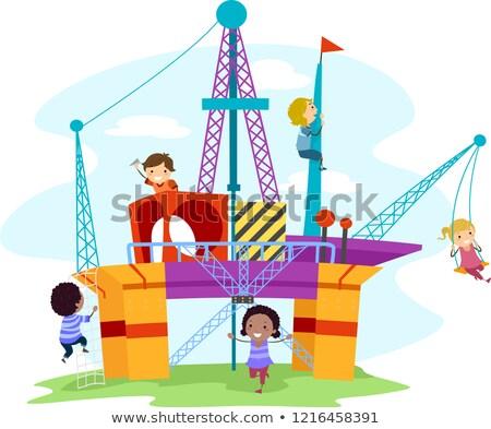 Crianças Óleo alto perfuração recreio ilustração Foto stock © lenm