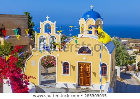 falu · Santorini · sziget · naplemente · kilátás · égbolt - stock fotó © neirfy