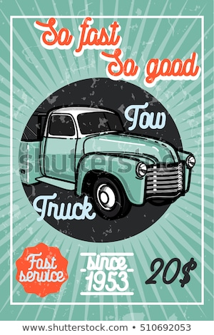color vintage car tow truck poster stockfoto © netkov1
