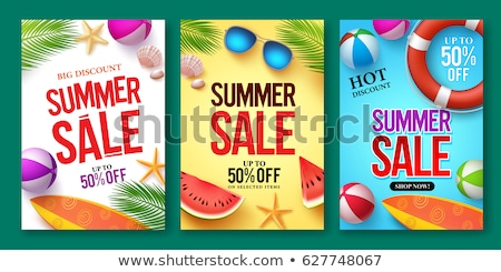 Hot Summer Sale Posters Set Vector Illustration Stock photo © robuart