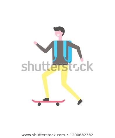 Diák korcsolya gördeszka keskeny tábla izolált Stock fotó © robuart