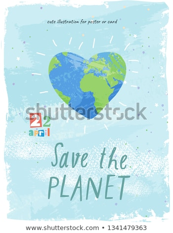 Earth Day illustration with Planet In the Heart. World map background on april 22 environment concep Stock photo © articular