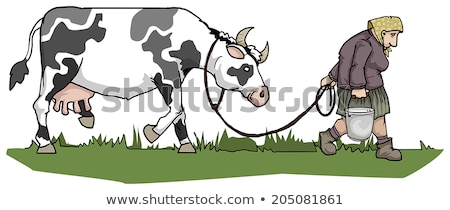 village woman with a bucket of cow milk. farm landscape Photo stock © studiostoks