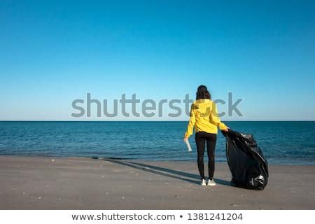 śmieci worek plaży szary plastikowe Zdjęcia stock © nito