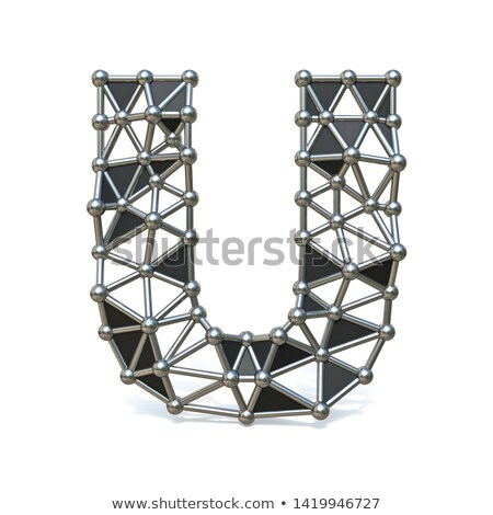 Wire low poly black metal Font Letter U 3D Stock photo © djmilic