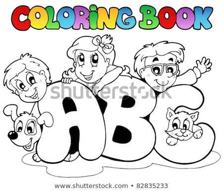 coloring book boy and pets by letter a stock photo © clairev