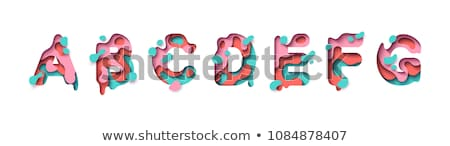 colorful paper cut out font letter f 3d stock photo © djmilic