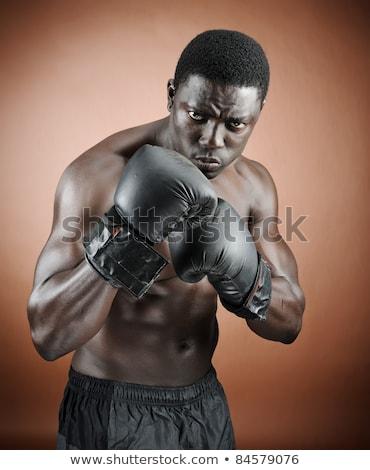 Sério boxeador jovem morena cabelos cacheados olhando Foto stock © pressmaster