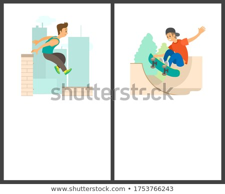 skateboarding male and parkour in city posters stock photo © robuart