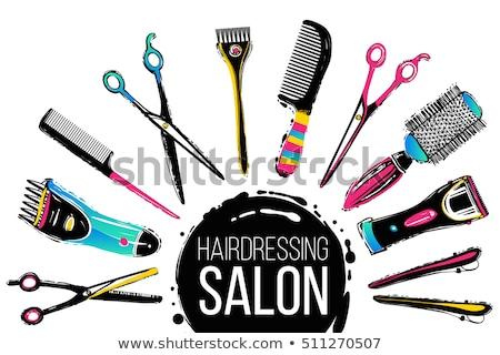 Hair salon hand drawn vector doodles illustration. Hairstyle poster design Stock photo © balabolka