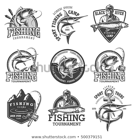 Vintage pesca establecer insignias diseno Foto stock © netkov1