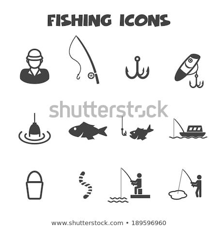 Pescador vara de pesca barco vetor ícone pescaria Foto stock © robuart