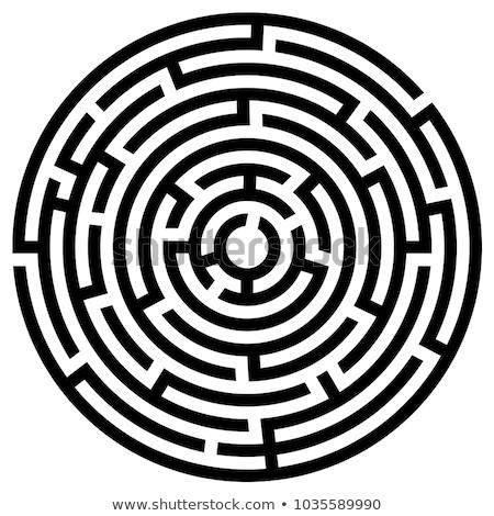 Сток-фото: Circle Maze Vector Illustration Isolated On White Background