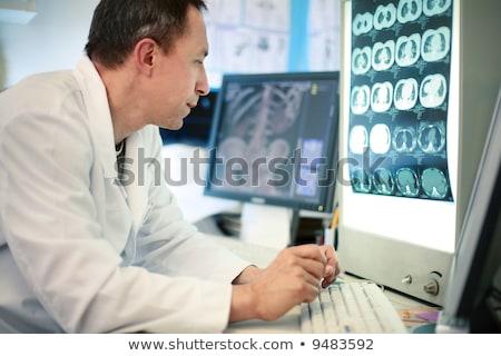 Doktor çalışma laboratuvar iskelet kadın tıbbi Stok fotoğraf © Elnur