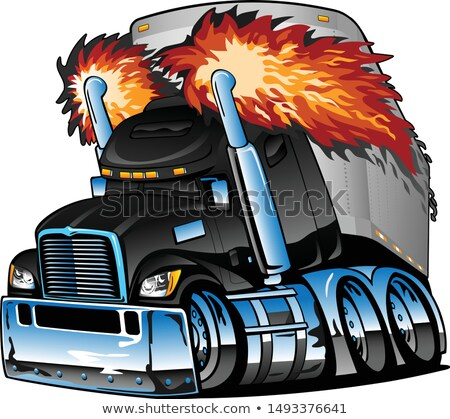 Semi Truck Tractor Trailer Big Rig, Black, Flaming Exhaust, Lots of Chrome, Cartoon Isolated Vector  Stock photo © jeff_hobrath