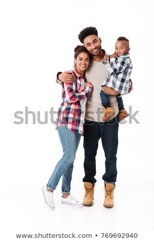 Foto stock: Retrato · de · família · em · pé · branco · família · crianças · amor