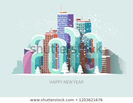 christmas · nieuwjaar · stad · schets · wenskaart · vrolijk - stockfoto © cienpies