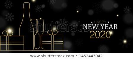 Nowy rok karty złota art deco strony pić Zdjęcia stock © cienpies