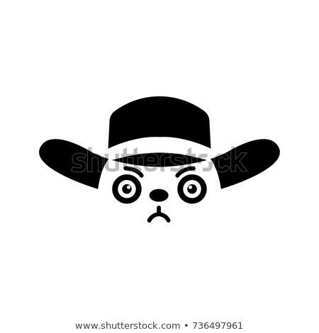 Karikatür ayı kovboy şapkası fikir siyah beyaz örnek Stok fotoğraf © bennerdesign