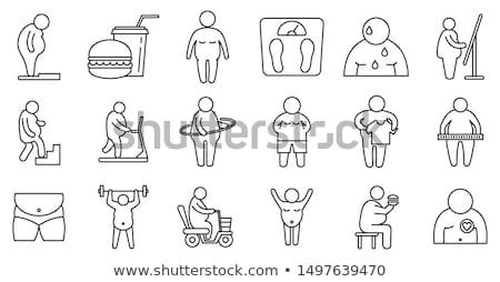 Elhízottság ikon gyűjtemény ikon férfi test egészség Stock fotó © bspsupanut