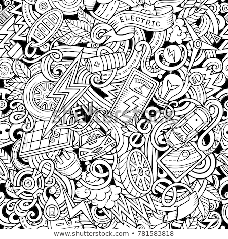 Cartoon cute doodles hand drawn Electric vehicle seamless pattern Stock photo © balabolka