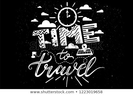 white hipster overlay with quote time to travel stock photo © barsrsind