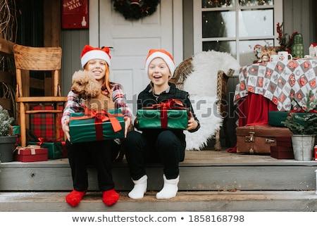 Foto d'archivio: Cute · giovane · ragazza · regalo · portico · casa · Natale