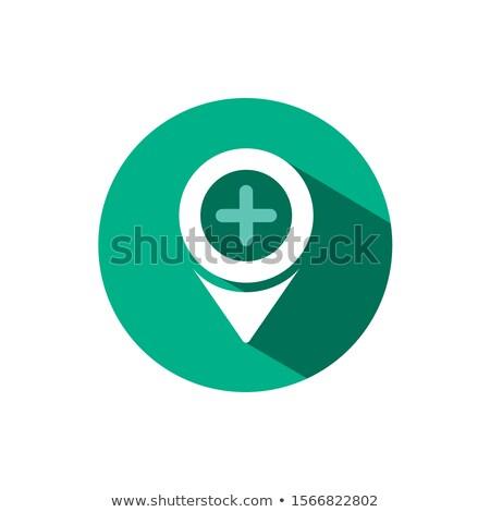 Pharmacy location icon with shadow on a green circle. Vector pharmacy illustration Stock photo © Imaagio