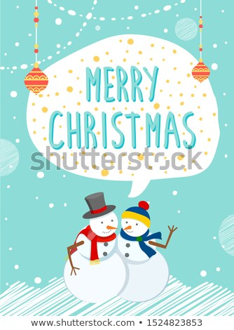 Snowmen Outside, Holiday Caption Merry Christmas Stock photo © robuart