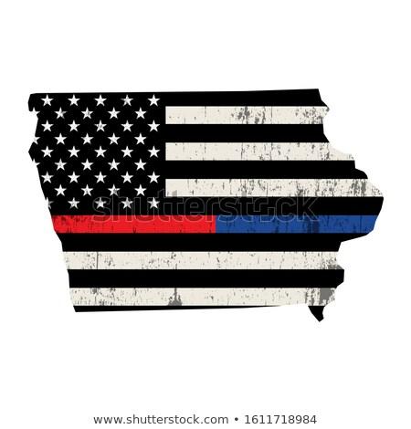 Iowa policji strażak wsparcia banderą ilustracja Zdjęcia stock © enterlinedesign