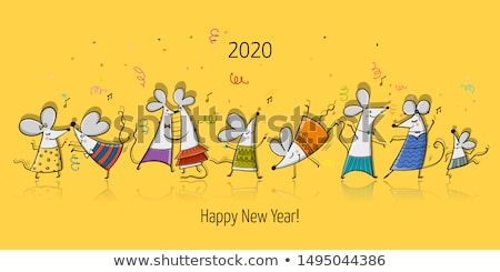 Chinese new year rat 2020 funny party mouse card Stock photo © cienpies
