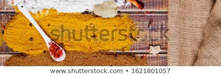 Banner bianco cucchiaio zafferano diverso colorato Foto d'archivio © Illia