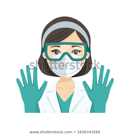 Young female doctor wearing the n95 respiratory protection mask, glasses and gloves, against infecti Stock photo © Imaagio