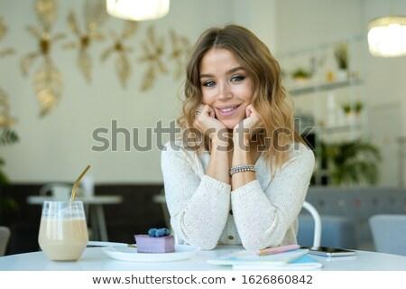 Heureux jeunes blond femme verre cappuccino Photo stock © pressmaster