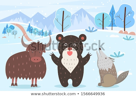 Bull and Bear with Howling Wolf in Winter Forest Stock photo © robuart