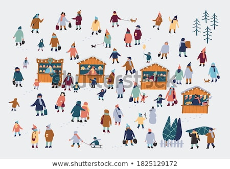 Winter Characters, Couples Woman and Man Vector Stock photo © robuart