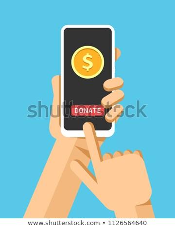 Kéz okostelefon adományoz pénz online operáció Stock fotó © karetniy