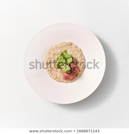 ダイエット 食品 オートミール ほうれん草 ハム プレート ストックフォト © artjazz